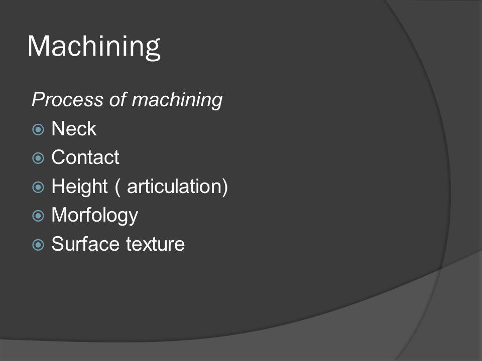 Machining Process of machining  Neck  Contact  Height ( articulation)  Morfology  Surface texture
