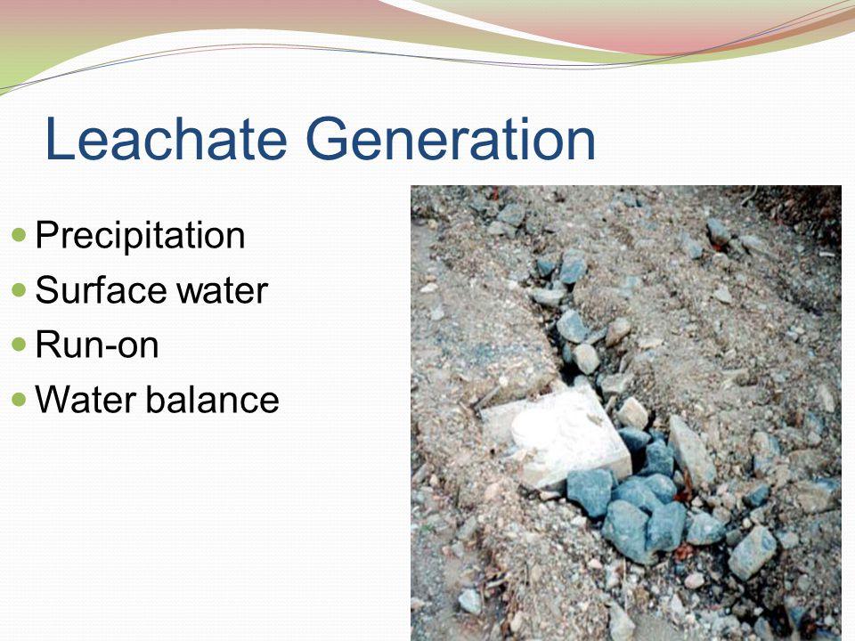 Control of Liquids Run-off and run-on Precipitation Evapotration Water balance Water in waste
