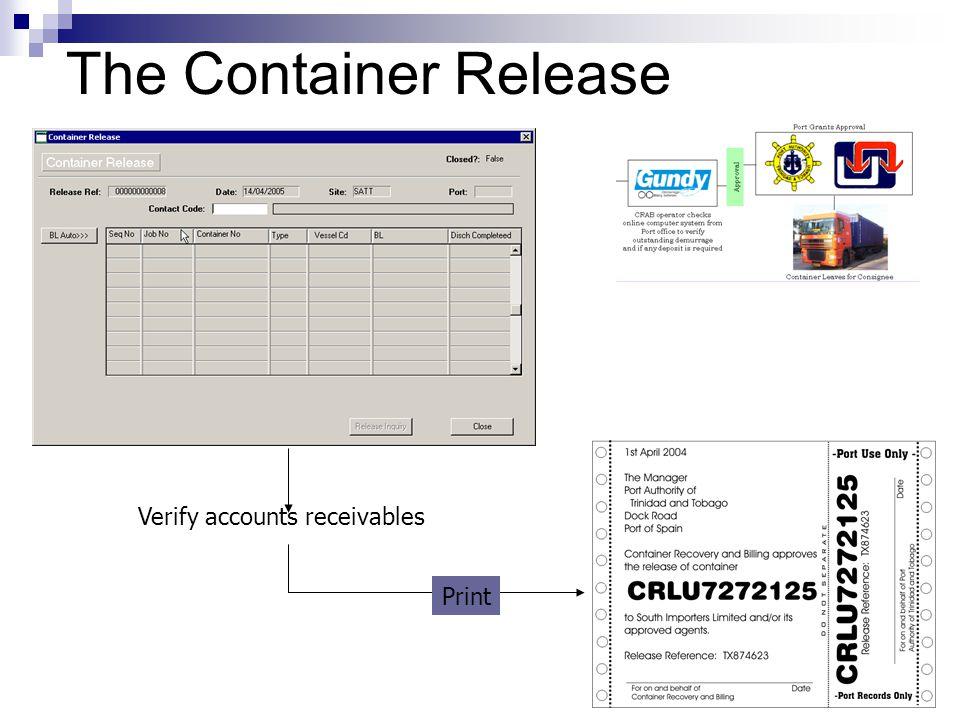 The Container Release Verify accounts receivables Print