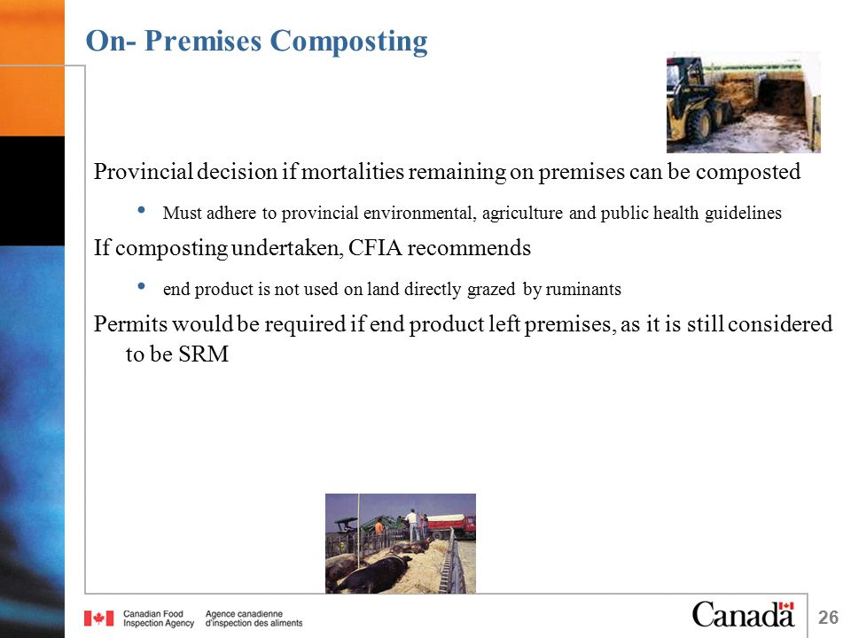 26 On- Premises Composting Provincial decision if mortalities remaining on premises can be composted Must adhere to provincial environmental, agriculture and public health guidelines If composting undertaken, CFIA recommends end product is not used on land directly grazed by ruminants Permits would be required if end product left premises, as it is still considered to be SRM