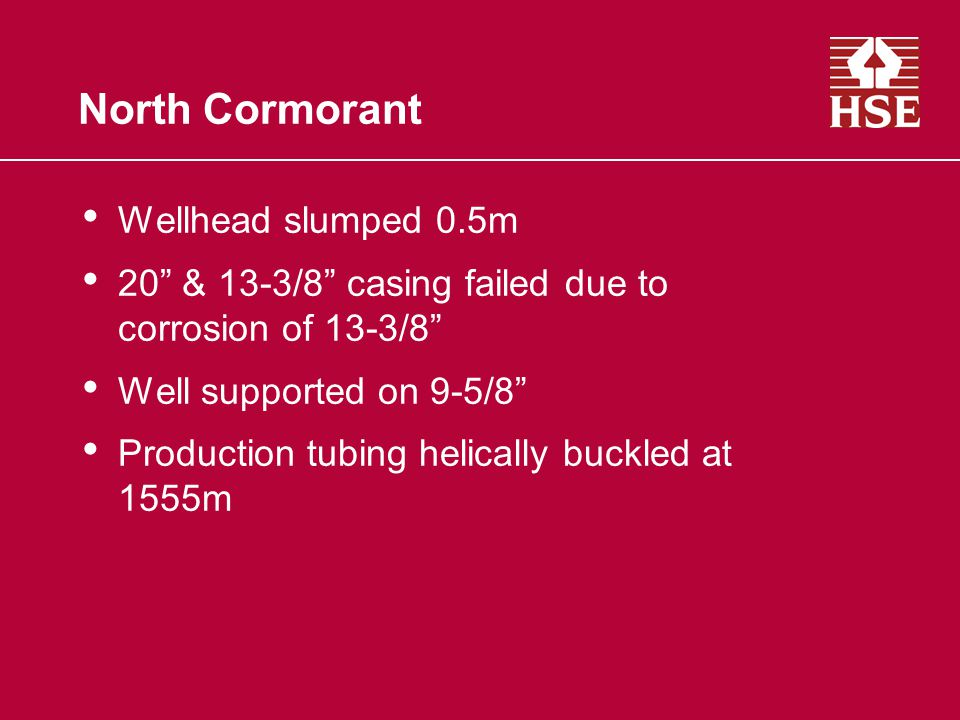 North Cormorant Wellhead slumped 0.5m 20 & 13-3/8 casing failed due to corrosion of 13-3/8 Well supported on 9-5/8 Production tubing helically buckled at 1555m