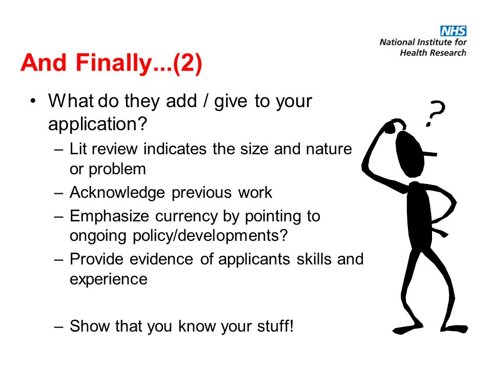 And Finally...(2) What do they add / give to your application.