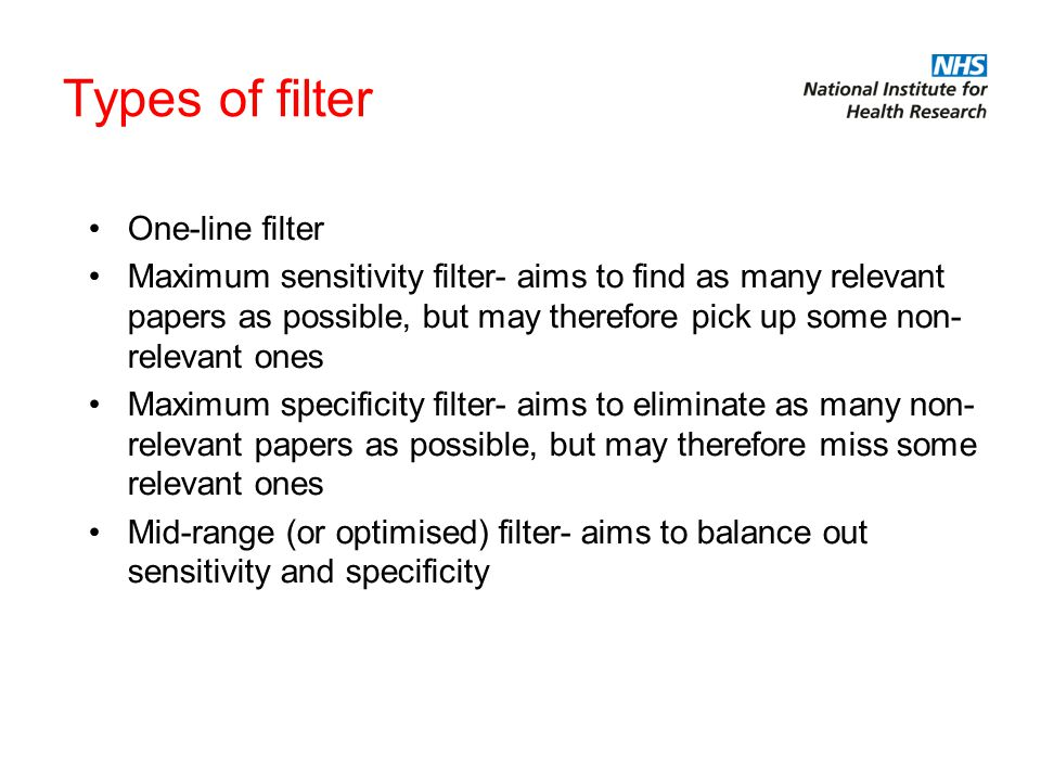 Some one-line filters Using methodological filters on MEDLINE –e.g.
