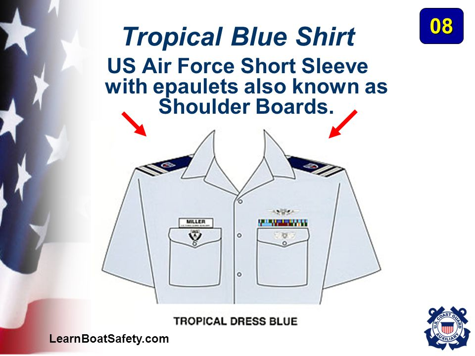 LearnBoatSafety.com Tropical Blue Shirt US Air Force Short Sleeve with epaulets also known as Shoulder Boards. 08