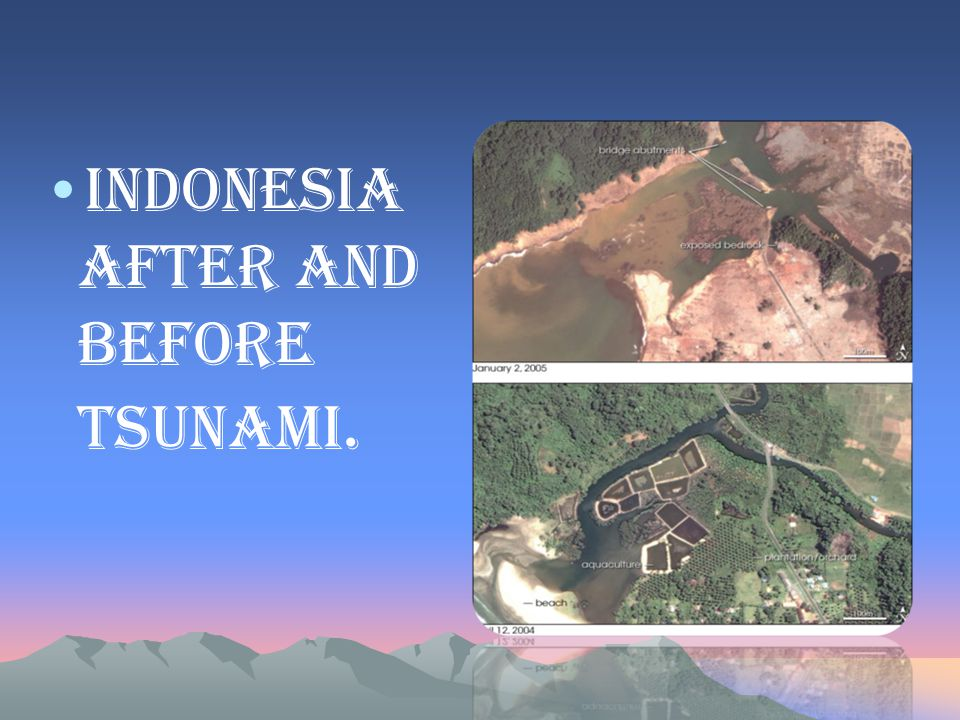 Indonesia after and before tsunami.