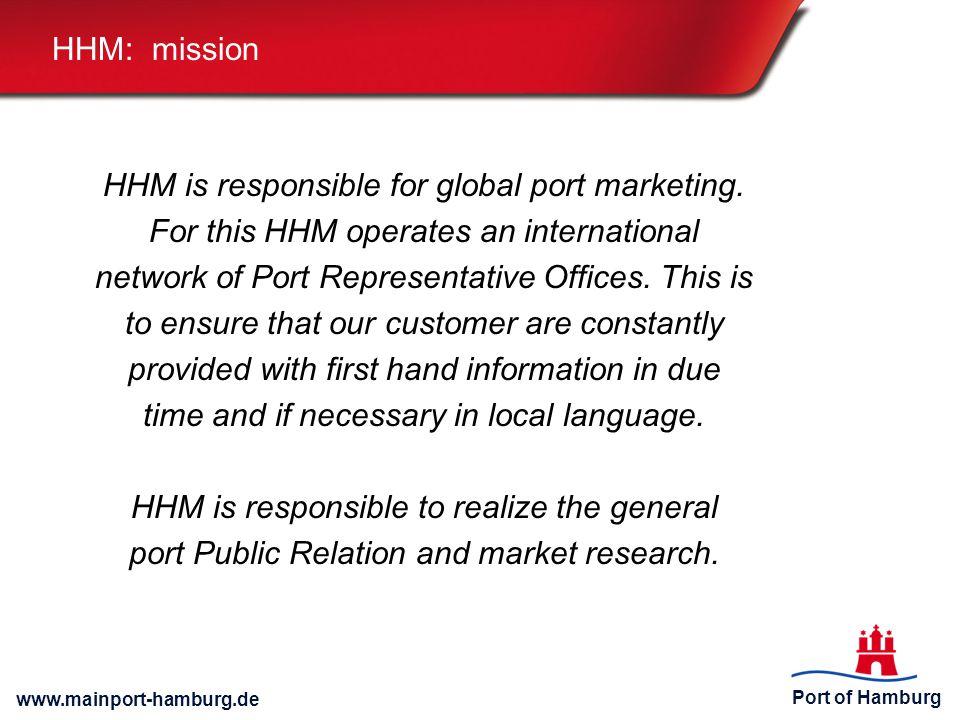 Port of Hamburg www.mainport-hamburg.de HHM: mission HHM is responsible for global port marketing.