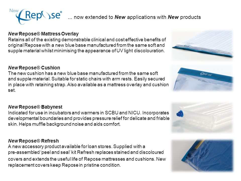 ... now extended to New applications with New products New Repose® Mattress Overlay Retains all of the existing demonstrable clinical and cost effecti
