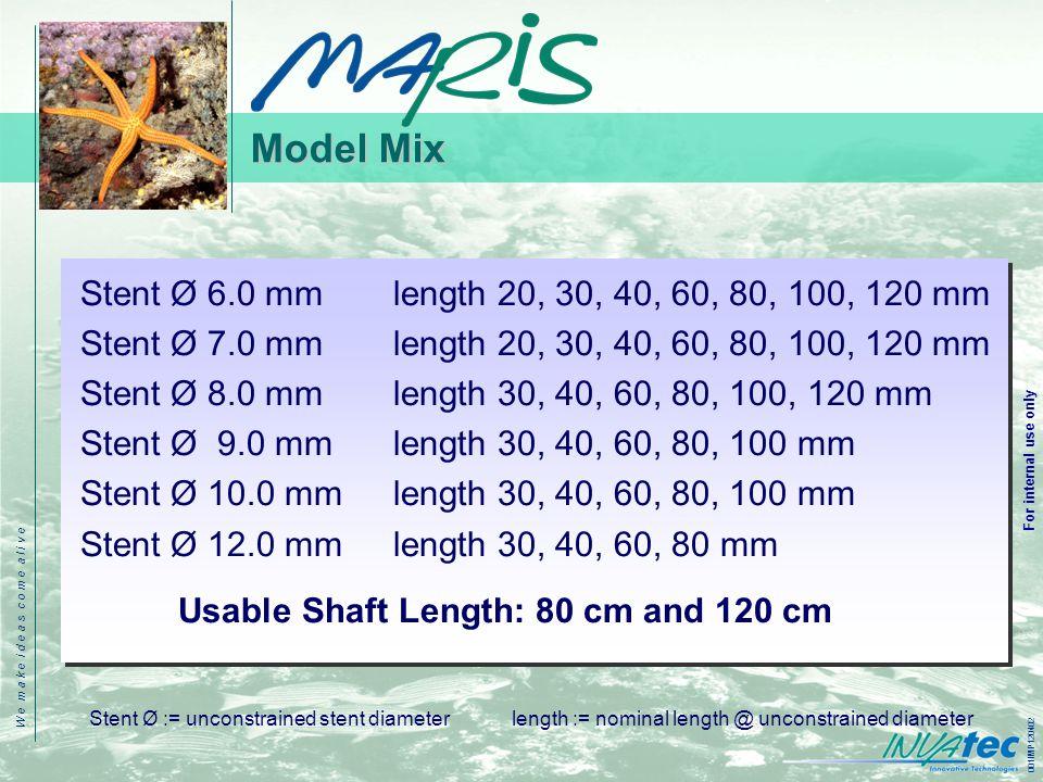 W e m a k e i d e a s c o m e a l i v e 001IMP120402 For internal use only Model Mix Stent Ø 6.0 mm length 20, 30, 40, 60, 80, 100, 120 mm Stent Ø 7.0 mm length 20, 30, 40, 60, 80, 100, 120 mm Stent Ø 8.0 mm length 30, 40, 60, 80, 100, 120 mm Stent Ø 9.0 mm length 30, 40, 60, 80, 100 mm Stent Ø 10.0 mm length 30, 40, 60, 80, 100 mm Stent Ø 12.0 mm length 30, 40, 60, 80 mm Usable Shaft Length: 80 cm and 120 cm Stent Ø := unconstrained stent diameter length := nominal length @ unconstrained diameter