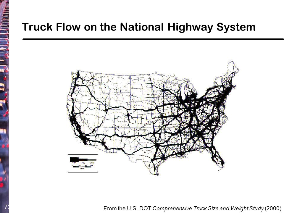 73 From the U.S. DOT Comprehensive Truck Size and Weight Study (2000) Truck Flow on the National Highway System