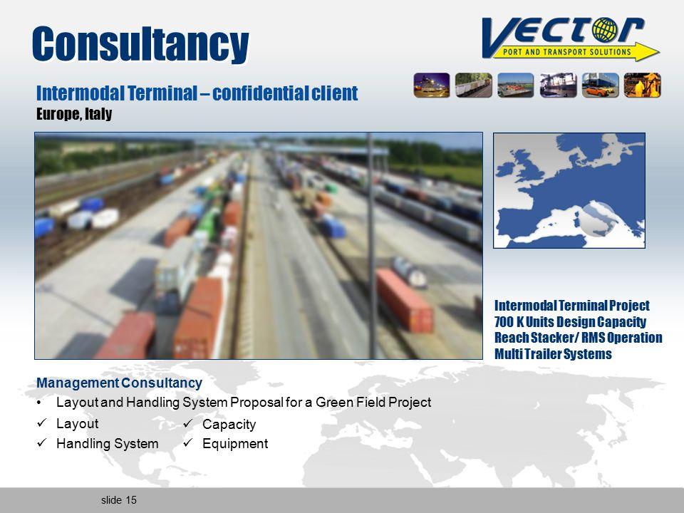slide 15 Intermodal Terminal – confidential client Europe, Italy Intermodal Terminal Project 700 K Units Design Capacity Reach Stacker/ RMS Operation