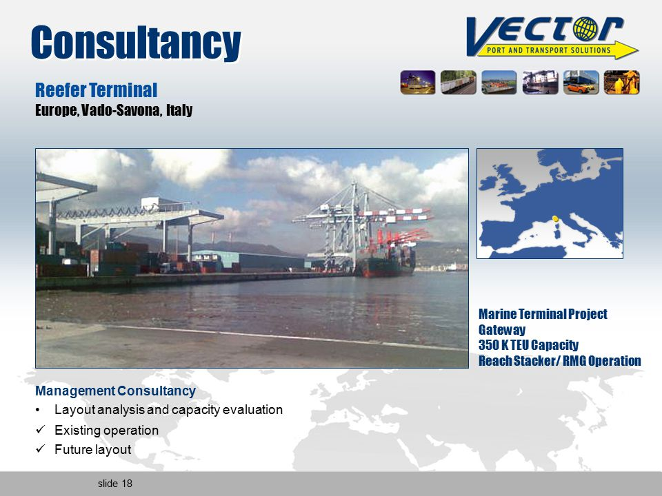 slide 18 Reefer Terminal Europe, Vado-Savona, Italy Marine Terminal Project Gateway 350 K TEU Capacity Reach Stacker/ RMG Operation Management Consultancy Layout analysis and capacity evaluation Existing operation Future layout Consultancy