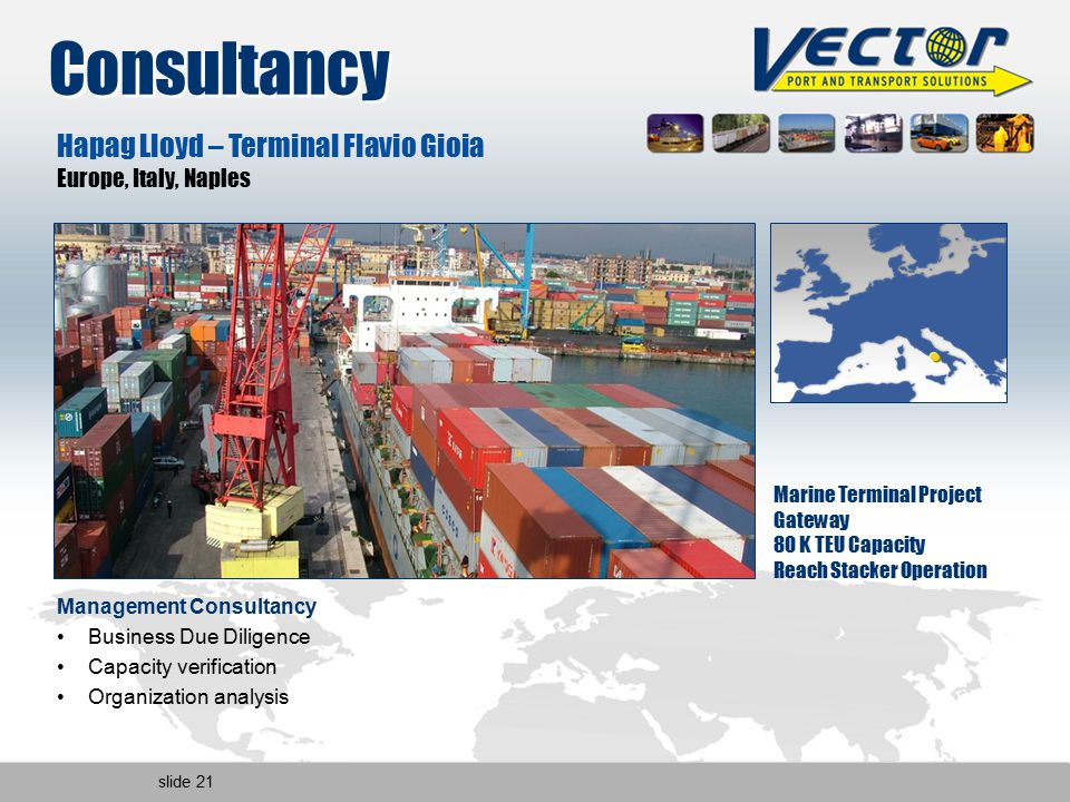 slide 21 Hapag Lloyd – Terminal Flavio Gioia Europe, Italy, Naples Marine Terminal Project Gateway 80 K TEU Capacity Reach Stacker Operation Management Consultancy Business Due Diligence Capacity verification Organization analysis Consultancy