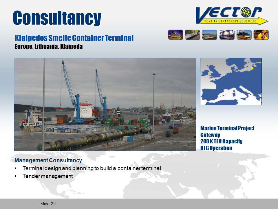 slide 22 Klaipedos Smelte Container Terminal Europe, Lithuania, Klaipeda Marine Terminal Project Gateway 200 K TEU Capacity RTG Operation Management C