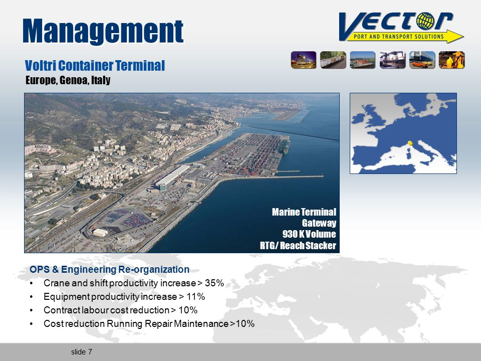 slide 7 Management Marine Terminal Gateway 930 K Volume RTG/ Reach Stacker OPS & Engineering Re-organization Crane and shift productivity increase > 35% Equipment productivity increase > 11% Contract labour cost reduction > 10% Cost reduction Running Repair Maintenance >10% Voltri Container Terminal Europe, Genoa, Italy