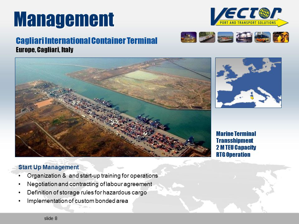 slide 8 Management Marine Terminal Transshipment 2 M TEU Capacity RTG Operation Cagliari International Container Terminal Europe, Cagliari, Italy Start Up Management Organization & and start-up training for operations Negotiation and contracting of labour agreement Definition of storage rules for hazardous cargo Implementation of custom bonded area