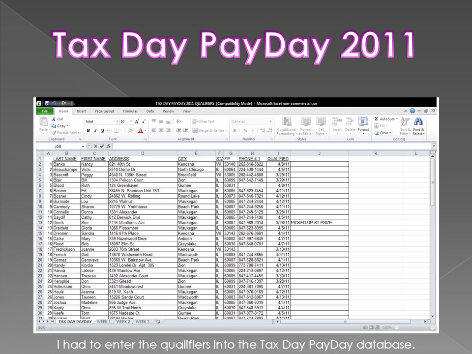 I had to enter the qualifiers into the Tax Day PayDay database.
