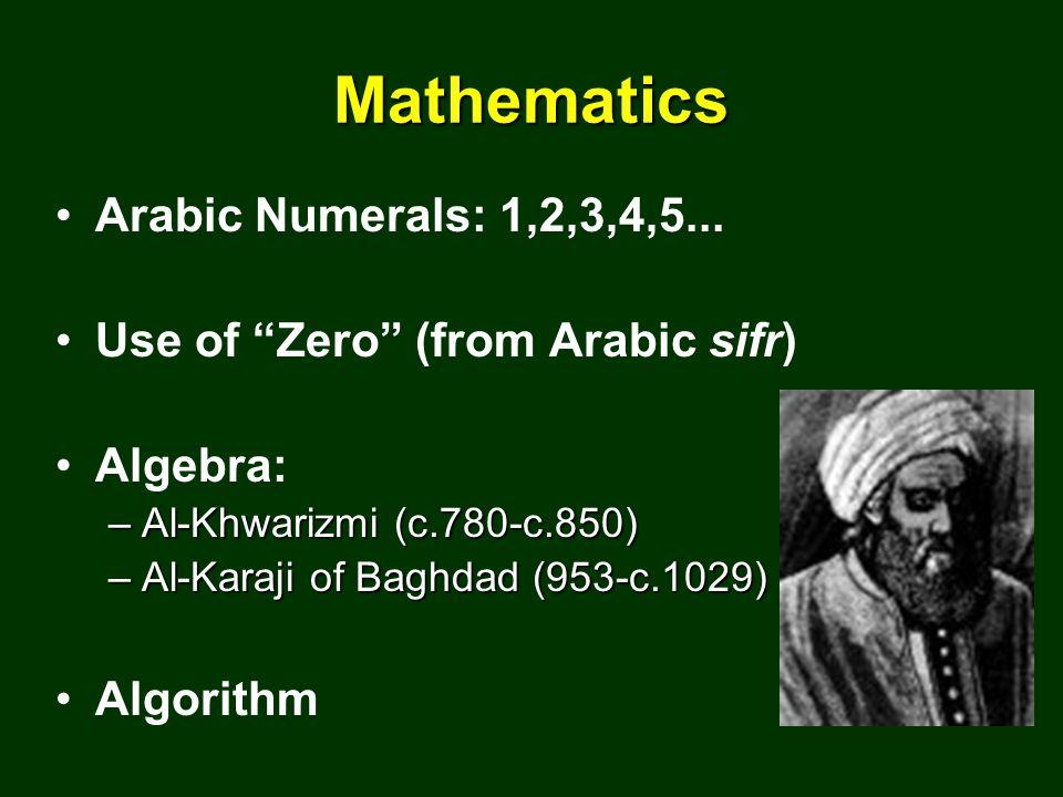 Mathematics Arabic Numerals: 1,2,3,4,5...
