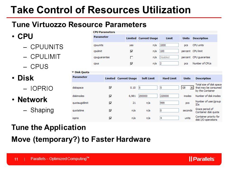 Parallels – Optimized Computing TM 11 Take Control of Resources Utilization Tune Virtuozzo Resource Parameters CPU –CPUUNITS –CPULIMIT –CPUS Disk –IOP