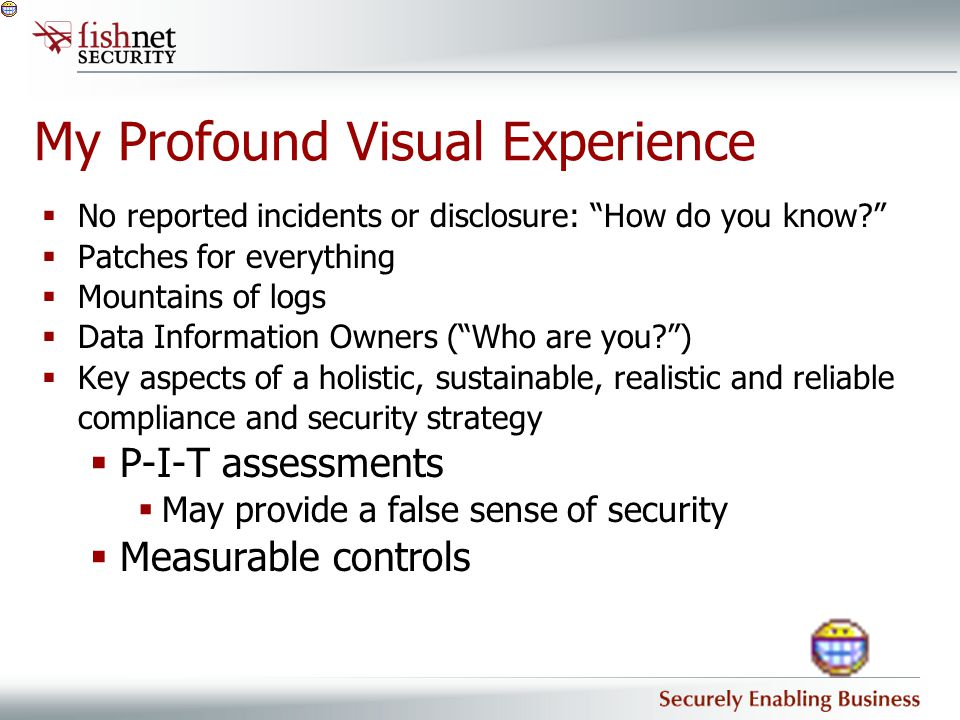 """My Profound Visual Experience  No reported incidents or disclosure: """"How do you know?""""  Patches for everything  Mountains of logs  Data Informatio"""