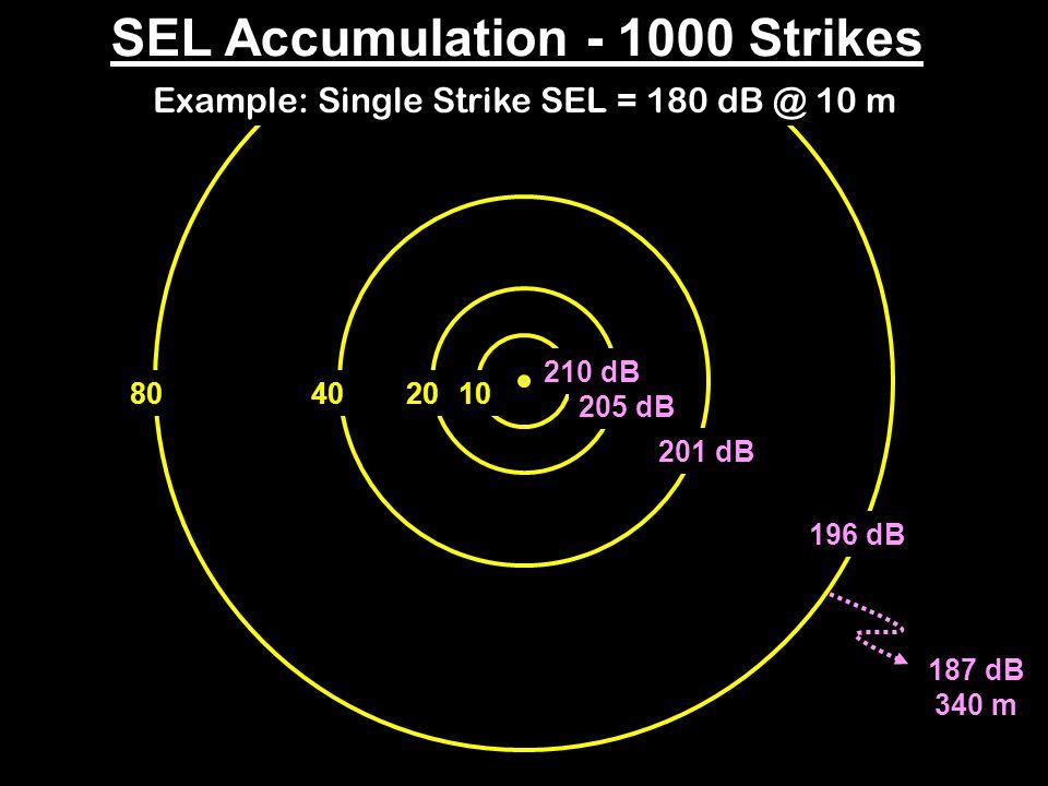 187 dB 340 m 40801020 SEL Accumulation - 1000 Strikes 210 dB 205 dB 201 dB 196 dB Example: Single Strike SEL = 180 dB @ 10 m