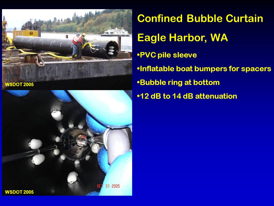 Confined Bubble Curtain Eagle Harbor, WA PVC pile sleeve Inflatable boat bumpers for spacers Bubble ring at bottom 12 dB to 14 dB attenuation WSDOT 2005