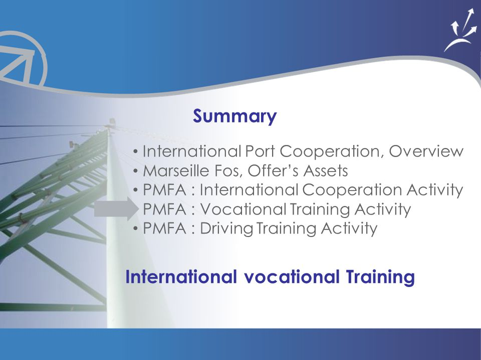 Mission Formation & Coopération Summary International Port Cooperation, Overview Marseille Fos, Offer's Assets PMFA : International Cooperation Activity PMFA : Vocational Training Activity PMFA : Driving Training Activity International vocational Training