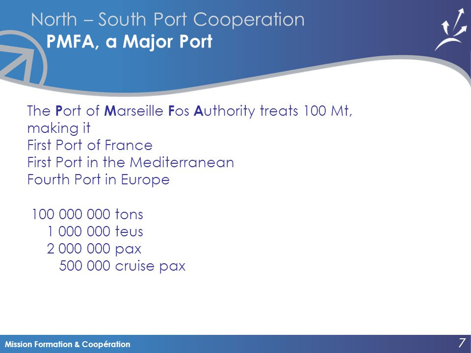 Mission Formation & Coopération North – South Port Cooperation PMFA, a Major Port The P ort of M arseille F os A uthority treats 100 Mt, making it First Port of France First Port in the Mediterranean Fourth Port in Europe 100 000 000tons 1 000 000teus 2 000 000pax 500 000 cruise pax 7