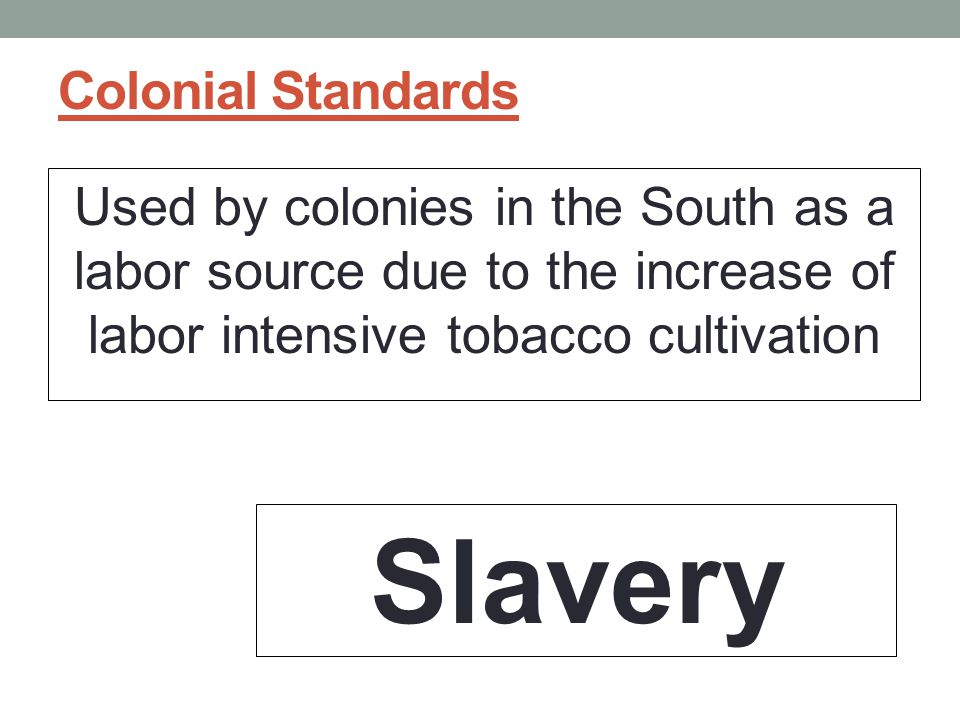 Colonial Standards Used by colonies in the South as a labor source due to the increase of labor intensive tobacco cultivation Slavery