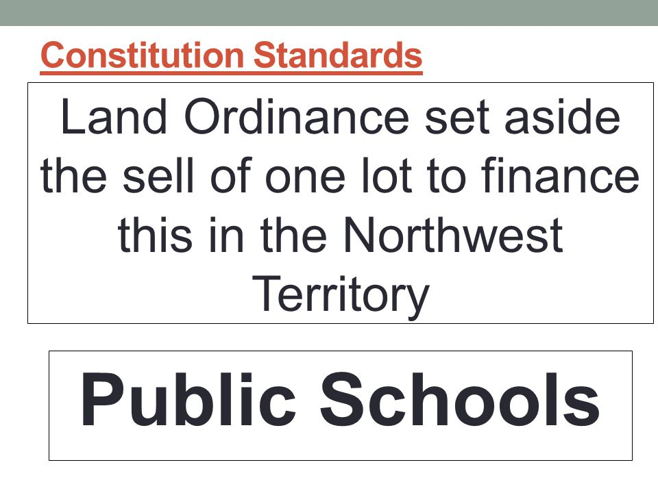 Constitution Standards Land Ordinance set aside the sell of one lot to finance this in the Northwest Territory Public Schools