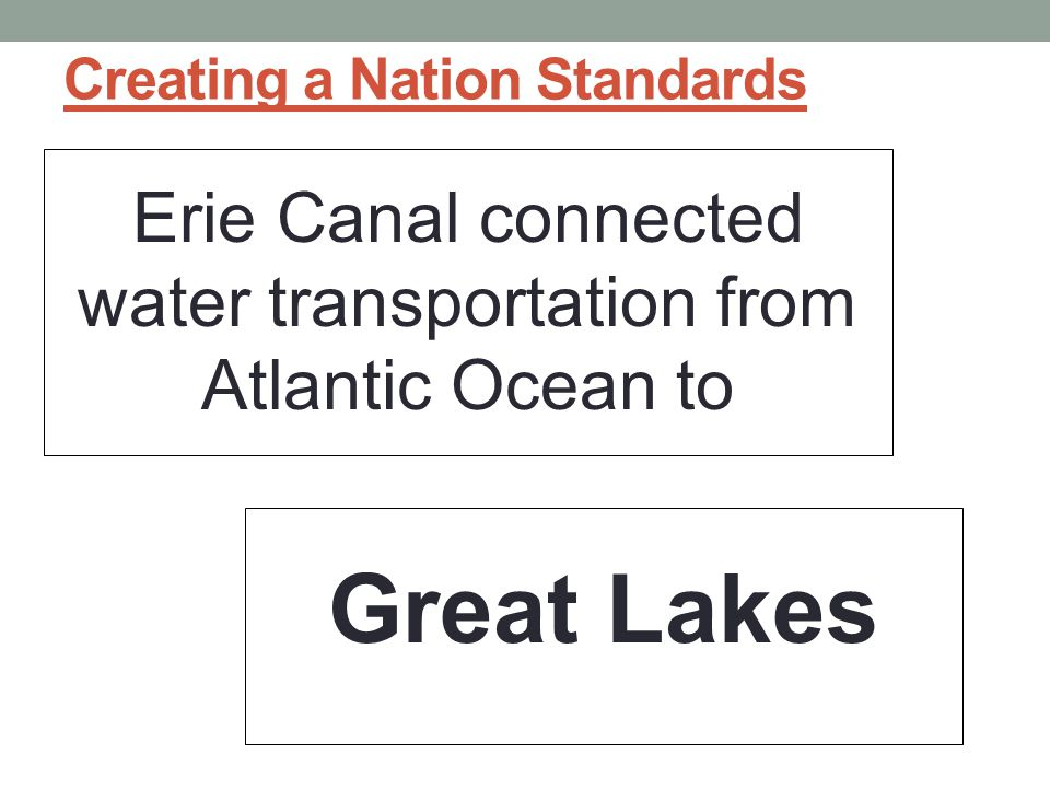 Creating a Nation Standards Erie Canal connected water transportation from Atlantic Ocean to Great Lakes