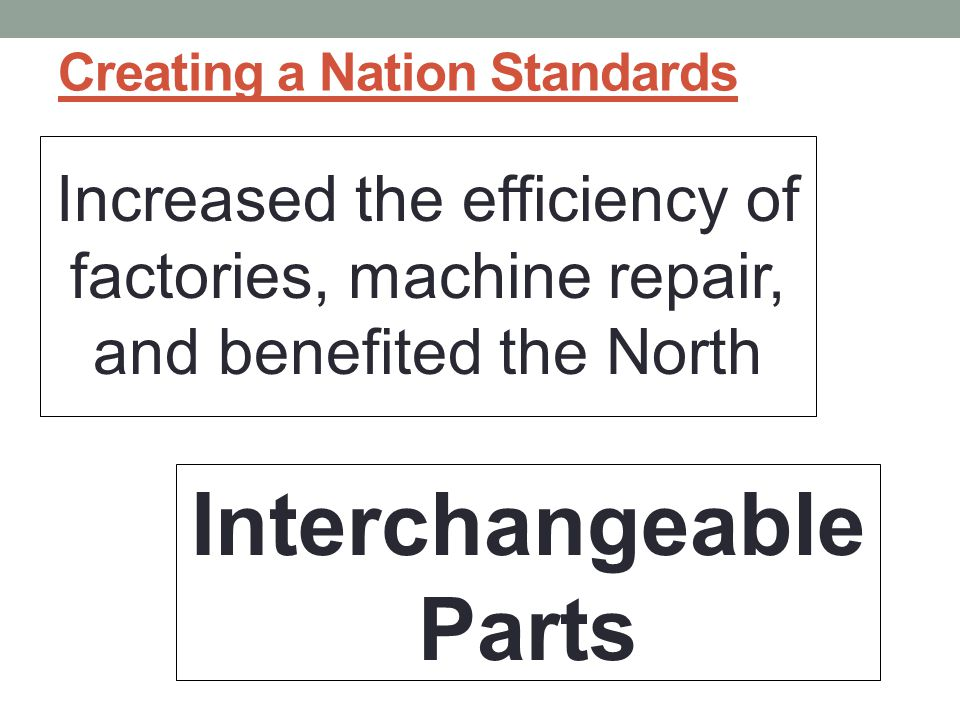 Creating a Nation Standards Increased the efficiency of factories, machine repair, and benefited the North Interchangeable Parts