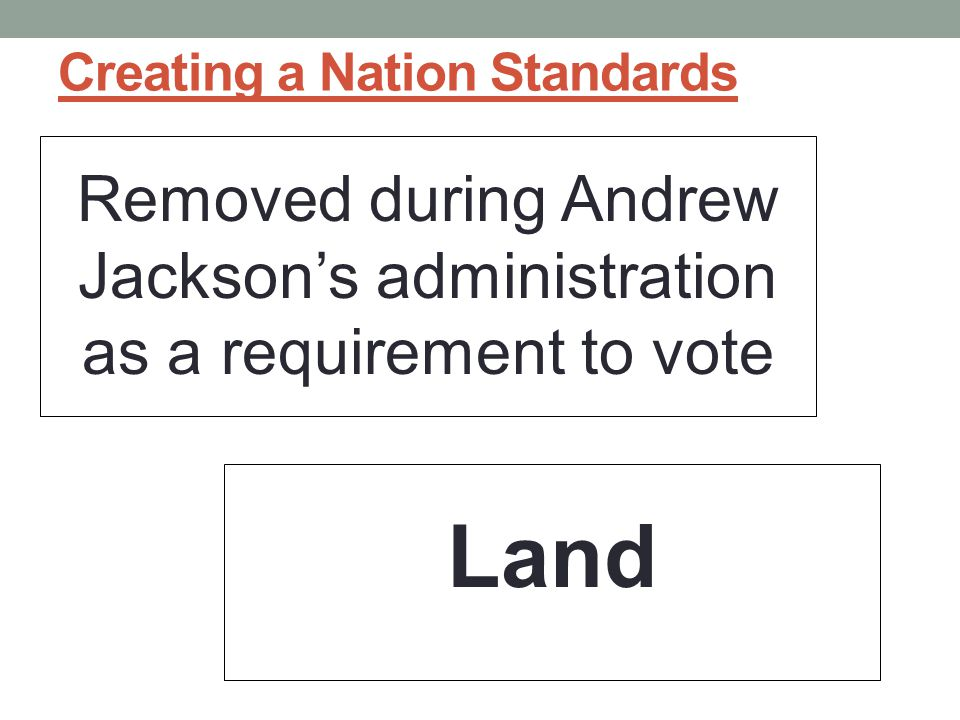 Creating a Nation Standards Removed during Andrew Jackson's administration as a requirement to vote Land