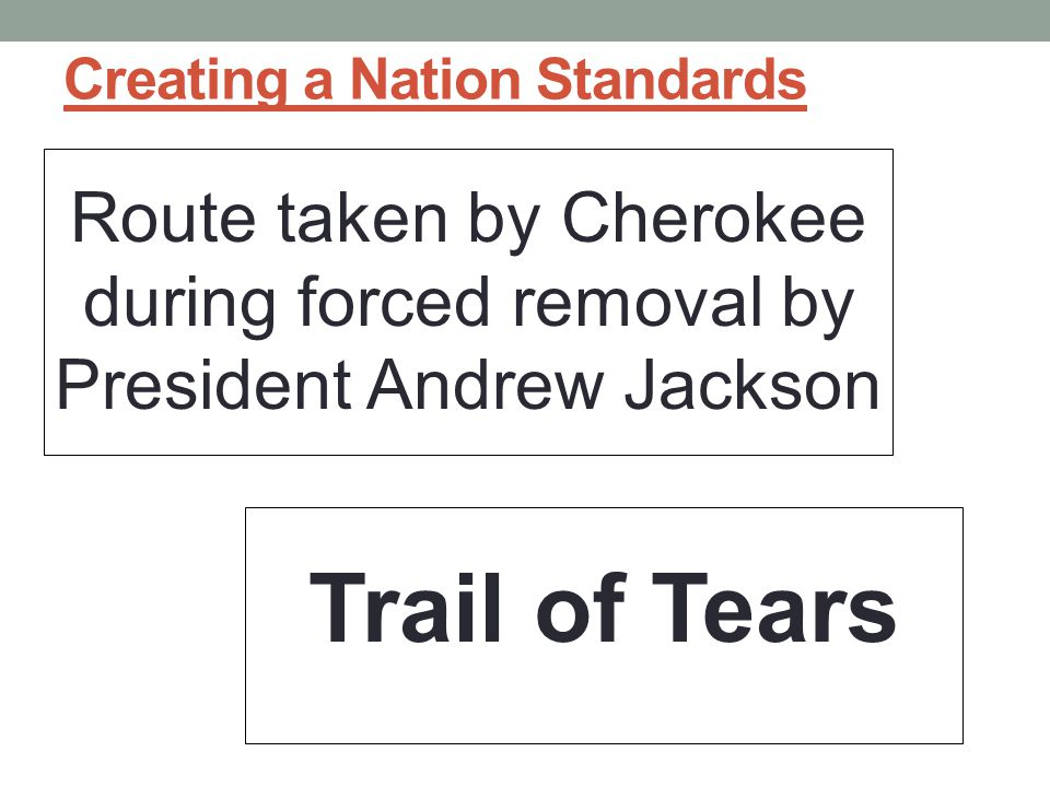 Creating a Nation Standards Route taken by Cherokee during forced removal by President Andrew Jackson Trail of Tears