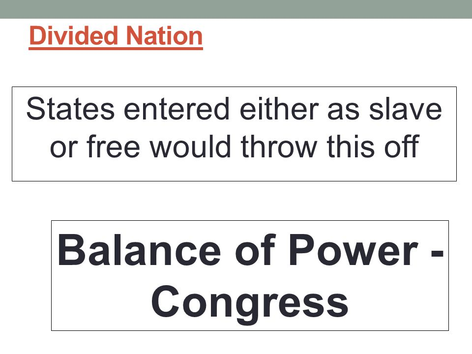 Divided Nation States entered either as slave or free would throw this off Balance of Power - Congress