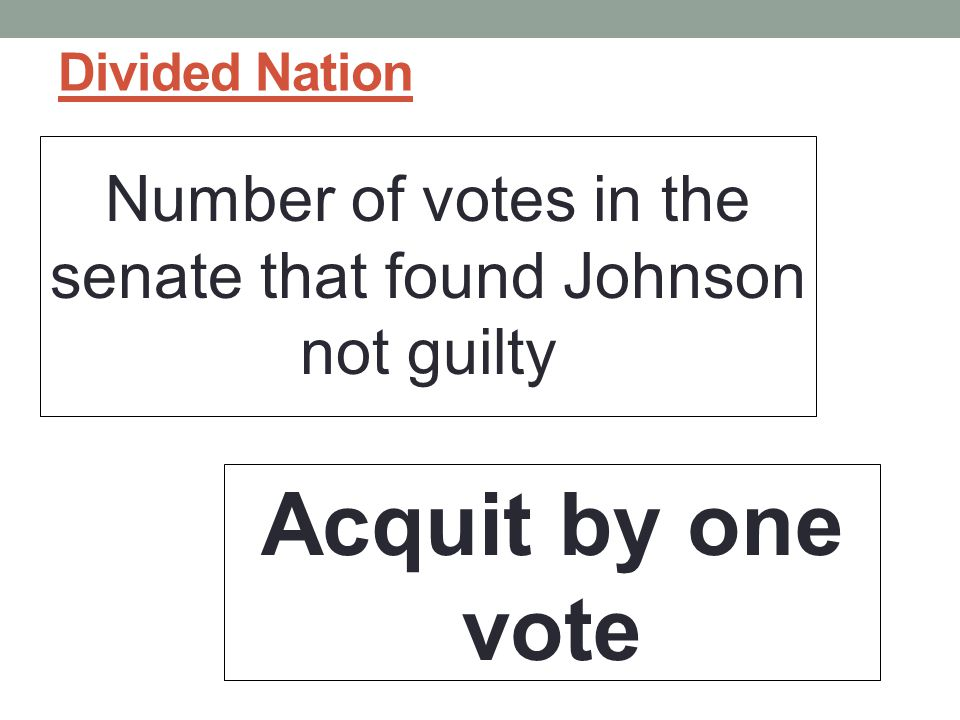 Divided Nation Number of votes in the senate that found Johnson not guilty Acquit by one vote