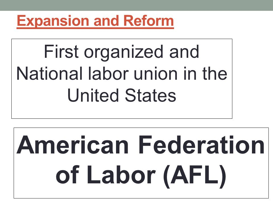 Expansion and Reform First organized and National labor union in the United States American Federation of Labor (AFL)