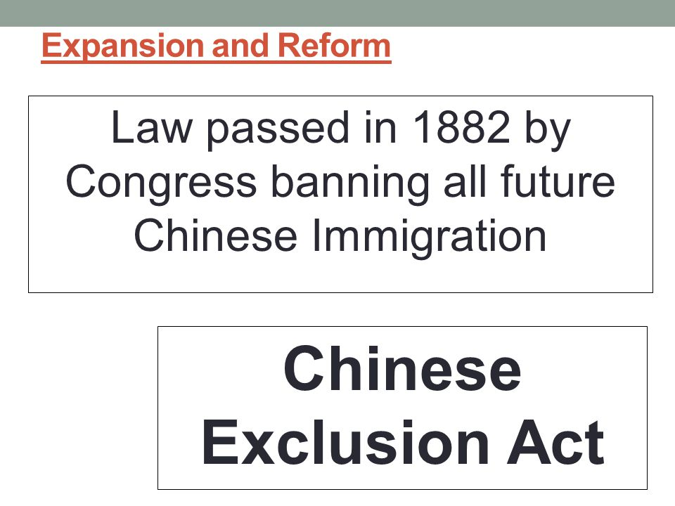 Expansion and Reform Law passed in 1882 by Congress banning all future Chinese Immigration Chinese Exclusion Act