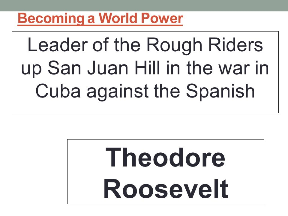 Becoming a World Power Leader of the Rough Riders up San Juan Hill in the war in Cuba against the Spanish Theodore Roosevelt
