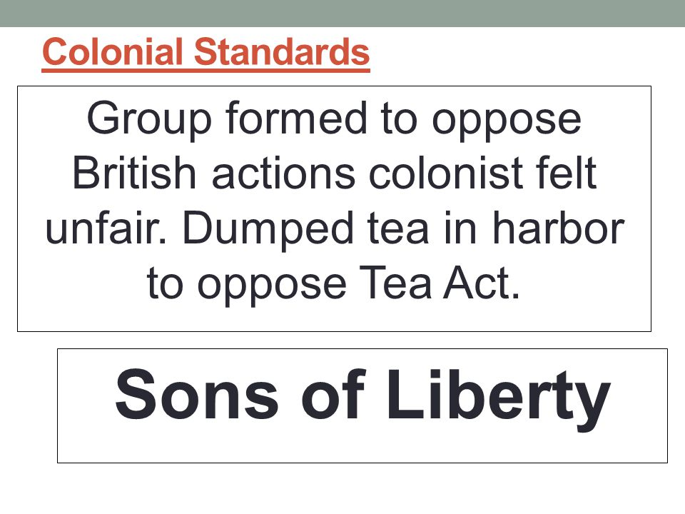Colonial Standards Group formed to oppose British actions colonist felt unfair.