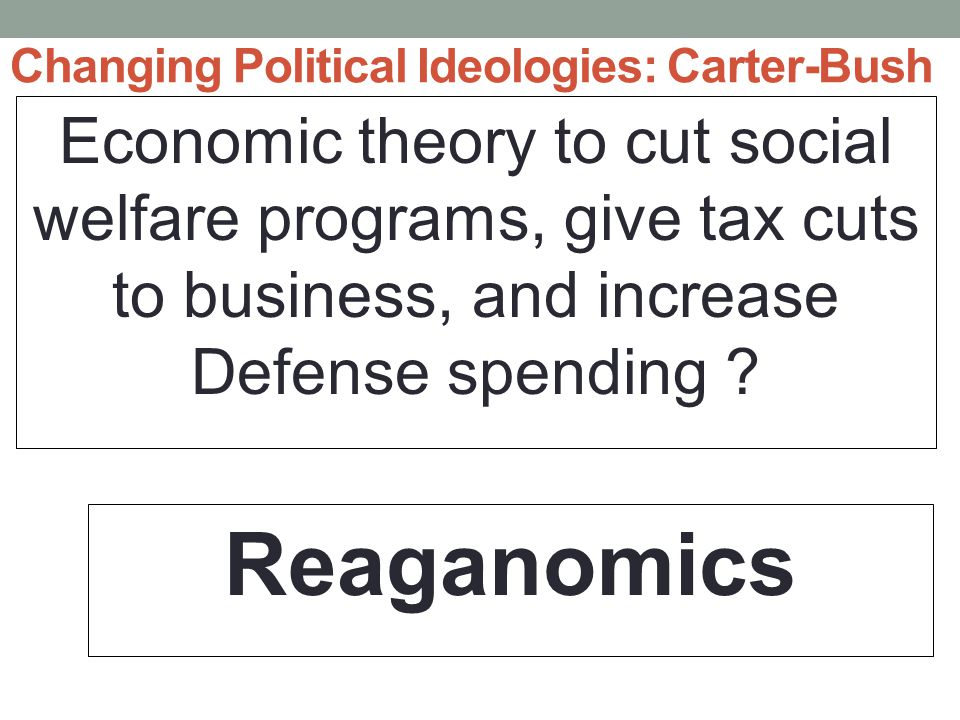 Changing Political Ideologies: Carter-Bush Economic theory to cut social welfare programs, give tax cuts to business, and increase Defense spending .
