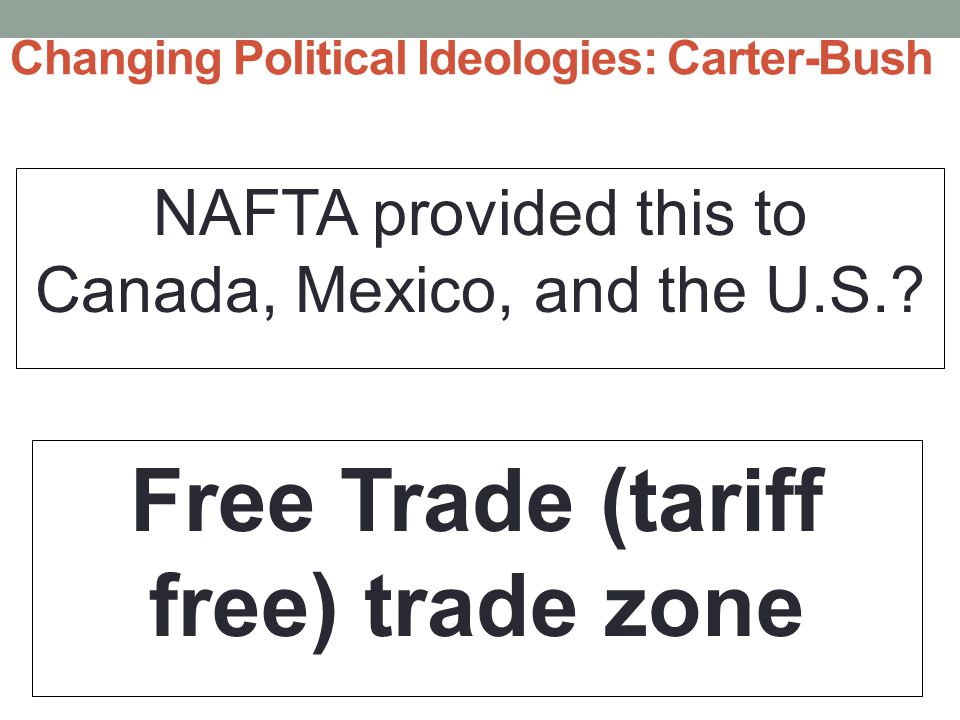 Changing Political Ideologies: Carter-Bush NAFTA provided this to Canada, Mexico, and the U.S..