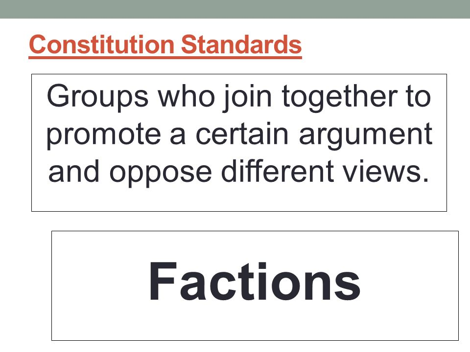 Constitution Standards Groups who join together to promote a certain argument and oppose different views.