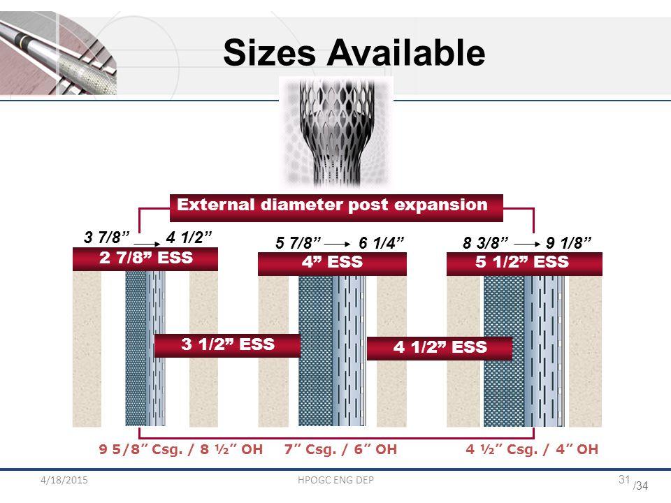 """/34 4/18/2015HPOGC ENG DEP31 3 7/8"""" 4 1/2"""" 5 7/8"""" 6 1/4""""8 3/8"""" 9 1/8"""" External diameter post expansion 5 1/2"""" ESS4"""" ESS 2 7/8"""" ESS Sizes Available 3 1"""