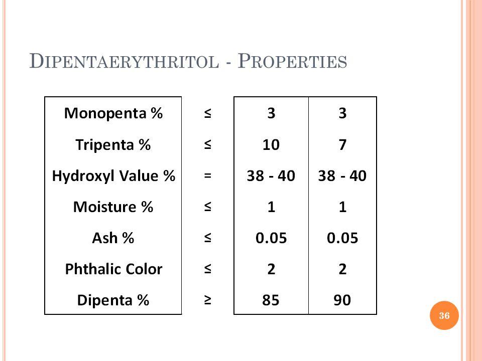 D IPENTAERYTHRITOL - P ROPERTIES 36