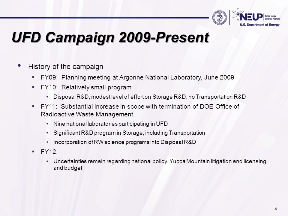 UFD Campaign 2009-Present History of the campaign  FY09: Planning meeting at Argonne National Laboratory, June 2009  FY10: Relatively small program