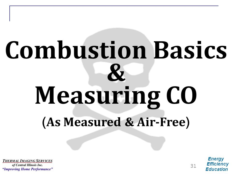 Energy Efficiency Education Combustion Basics & Measuring CO ( As Measured & Air-Free ) 31