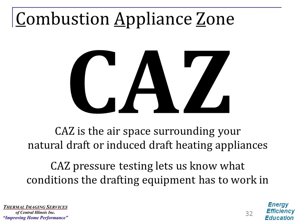 Energy Efficiency Education Combustion Appliance Zone CAZ CAZ is the air space surrounding your natural draft or induced draft heating appliances CAZ