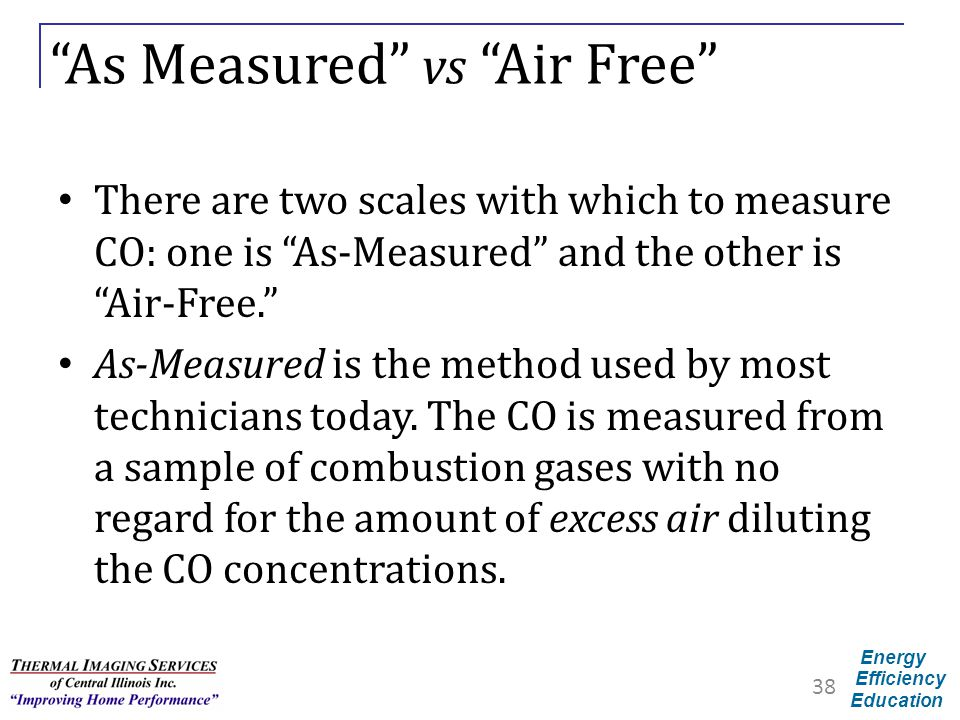 "Energy Efficiency Education ""As Measured"" vs ""Air Free"" There are two scales with which to measure CO: one is ""As-Measured"" and the other is ""Air-Free"