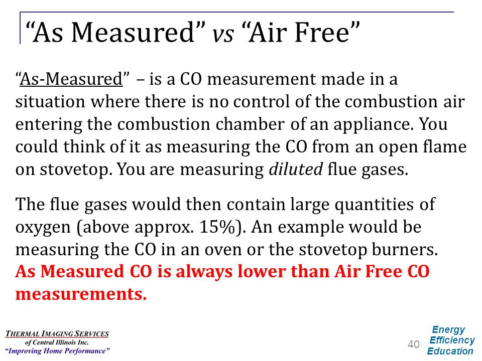 "Energy Efficiency Education ""As Measured"" vs ""Air Free"" ""As-Measured"" – is a CO measurement made in a situation where there is no control of the combu"