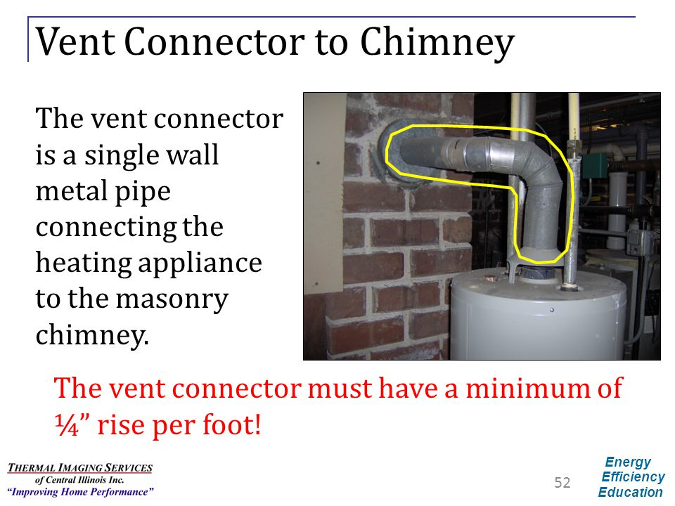 Energy Efficiency Education Vent Connector to Chimney The vent connector is a single wall metal pipe connecting the heating appliance to the masonry c